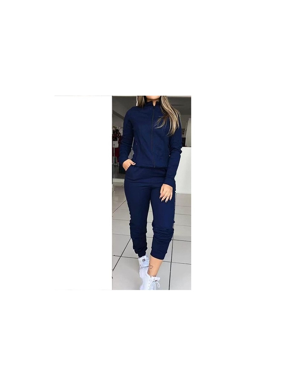 Women's Autumn Solid Color Long Sleeve Outfits Sportswear Two-piece Set Femme Zipper Casual Tops And Pants Tracksuit SJ3615M...