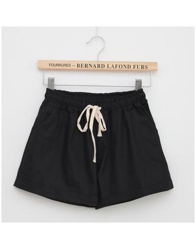 Women Cotton Shorts 2018 Summer Fashion Candy Color Elastic Waist Drawstring Short Pants Woman Casual Plus Size Shorts - Bla...