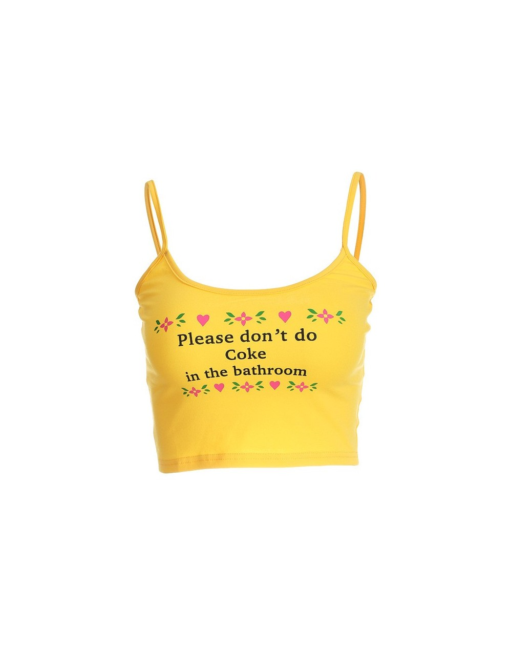 2019 Summer Cropped Feminino Ladies Strap Tank Tops Chic Letter Printed Elastic Camisole Sexy Fitness Tops - yellow - 4B3999...