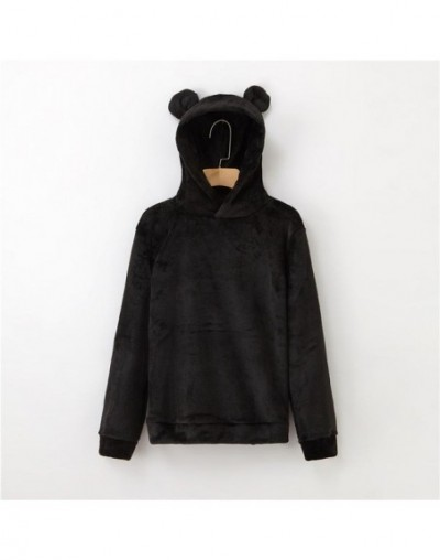 Women's Flannel Hoodies Sweatshirts Lovely With Bears Ears Solid Warm Hoodie Autumn Winter Casual Campus Pullovers coat - CA...