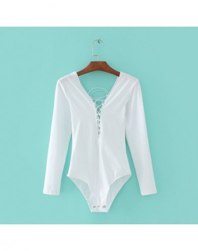 Women Deep V Neck Lace Up Bodysuits with Long Sleeve Sexy Bodysuit - white - 4Q3923694511-1