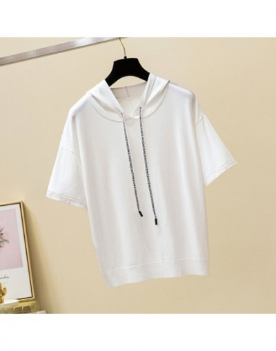 New women's shirt casual short-sleeved pullover 2018 summer women's knit solid color hooded collar warm sweater - White - 4A...