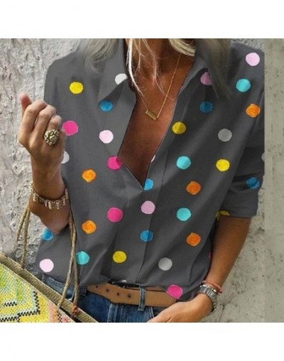 Summer Blouse Women Tops Casual Long Sleeved Loose Dot Print Deep V Neck Shirt Bluzki Damskie Blusas Mujer De Moda 2019 - gr...