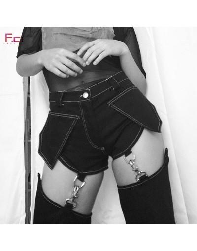 2019 Fashion Women Fenty Suspender Jeans Black White High Waist Pocket Denim Jeans with Chain Suspender Straight Jeans - Bla...