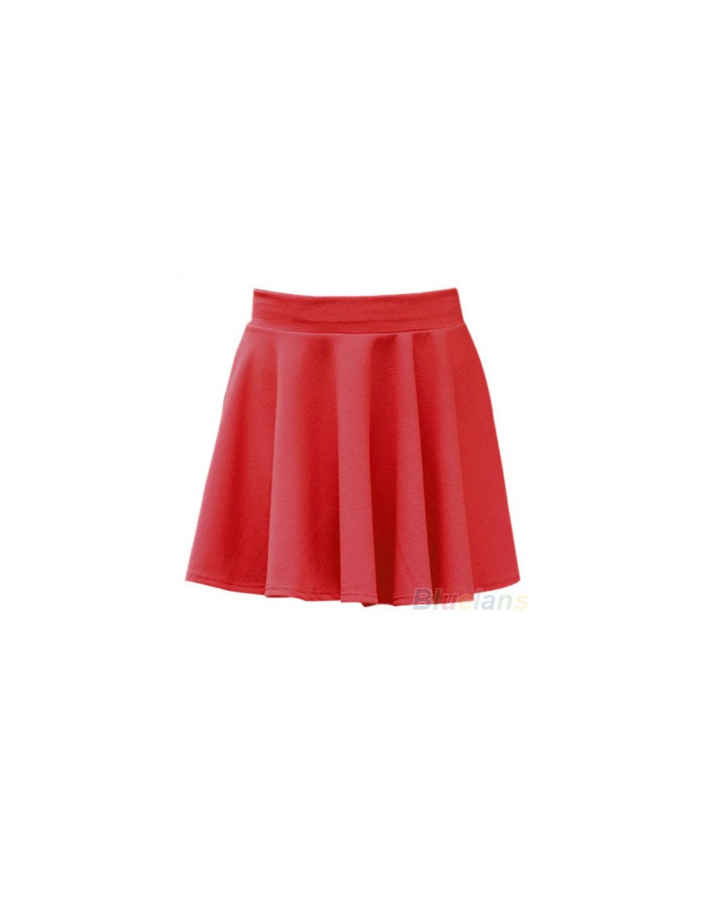 Women's Candy Color Stretch Waist Pleated Jersey Plain Skater Flared Mini Skirts - Red - 4S3031265582-8