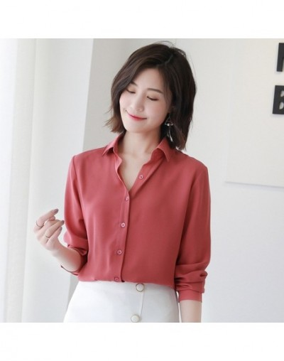 2018 spring new hot solid color lapel long sleeve shirts Plus Size shirt chiffon blouse shirt women's casual loose blouses E...