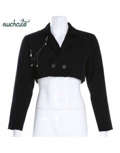 Women's Jacket Blazer Long Sleeve Black Metal Chain Coat Feminino Chaqueta Mujer Veste Festival Summer 2019 Modis Party - bl...