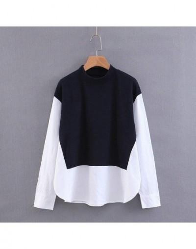 women patchwork white sweatshirts long sleeve korea style pullovers fashion ladies casual designer tops SL78 - Multi - 4U308...