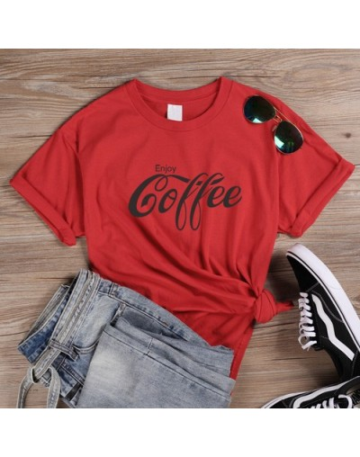 Female T Shirt Enjoy Coffee Letter Print T Shirts Women's Streetwear Basic Cotton Tees Cola Tshirt Harajuku Slogan Tops - Re...