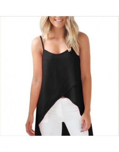 Women Tank Top Sexy Simple Daily Wear Perspective Cross Wrap Light Irregular Spaghetti Strap Casual Long Tail Solid Beach Lo...