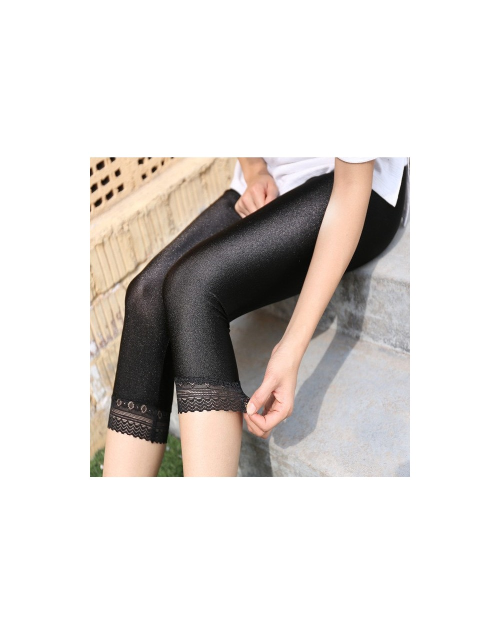 Women's Calf-Length Pants Slim Solid Female Shiny pants Women Mujer Simple Casual Elasticity Trousers Large size S-5XL For W...