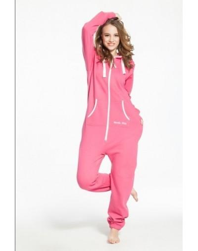 Solid adult onesie all-in-one piece jumpsuit jump in fleece zip hoody rompers daffedress fleece unique - Pink - 2O321037693-4
