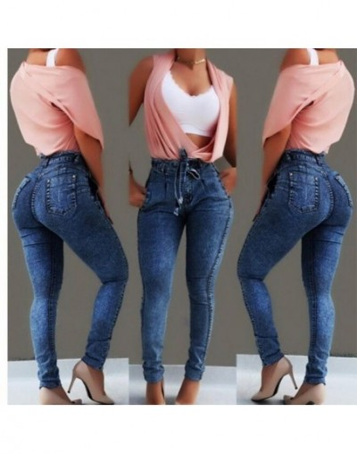 High Waist Jeans For Women Slim Stretch Denim Bandage plus size Jeans Woman ouc326 - Deep blue - 444121332150-1