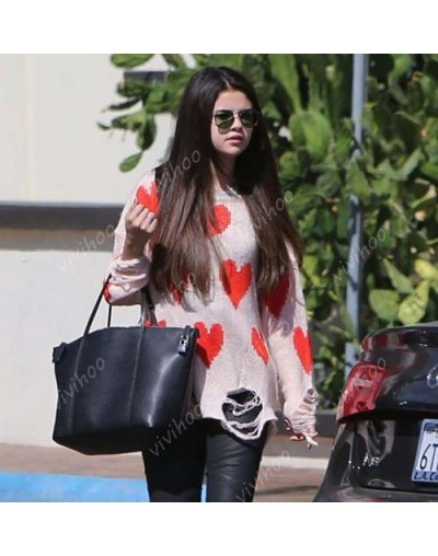 Hot Sale Women New Love Peach Heart Hole O-Neck Full Sleeve Loose Wool Knitwear Casual Pullovers Long Jacket Sweater Tops - ...