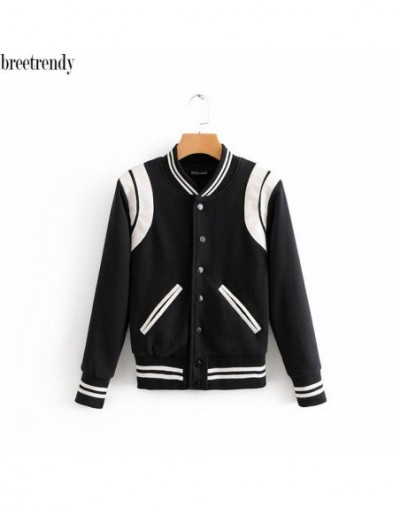 Autumn fashion color block black white color baseball jacket women casual single breasted jackets outwear - Black - 4W301007...