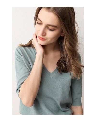 2019 Women's Spring Half-Height V-Neck Short Sleeve Cashmere Sweater Blend Slim Style Pullover Knitwear - lan lv - 403089044...