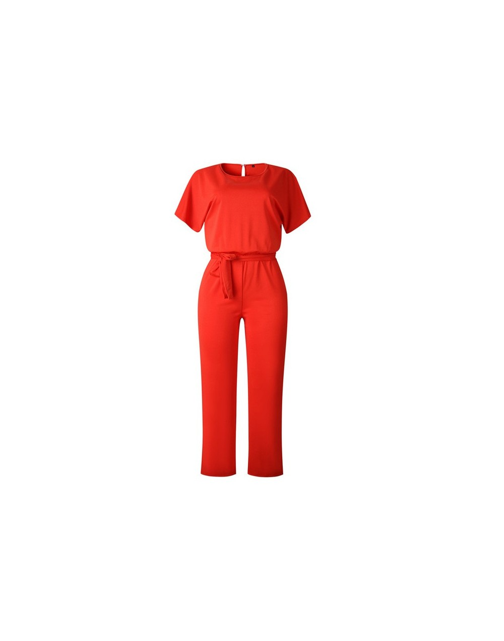 Short Sleeve 2019 New Women Jumpsuit Solid Back Button Bodysuits Womens Casual Spring Summer Overalls Female Jumpsuits - Red...