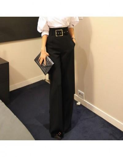 2019 Autumn Women's Suits Fashion Batwing Sleeve Shirt White Blouse Blusas Top+Sashes Wide Leg Pant Suit Two Piece Set - Pan...