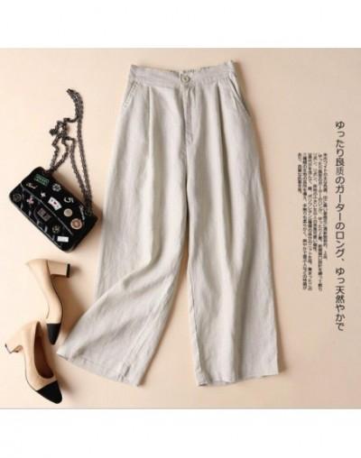 Summer Cotton Linen Pants for Women Wide Leg Trousers OL Leisure Loose Solid Color Pants Women's Elastic Waist Pants - Khaki...