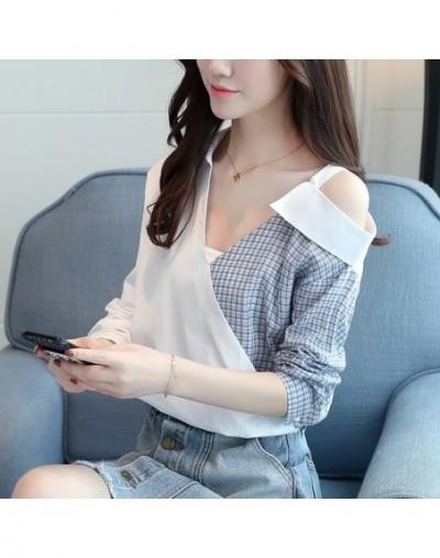2019 fashion v-neck sexy strapless women blouse shirt summer long sleeve women tops shirts plaid women's clothing blusas D83...