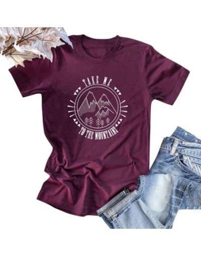 Fashion Women Cotton T-shirt Short Sleeve O Neck Mountains Slogan Letter Print Plus Size Cool Tee Shirt Femme Casual Top - B...