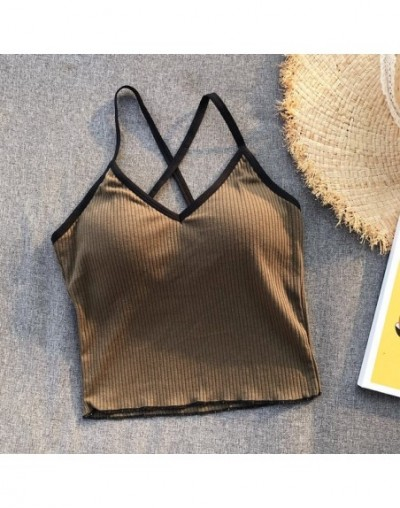 Girls Crossed Straps Short Camis Tops With Seperated Bra Women Padding Tanks Crop Tops For Female - Army Green - 4M4116928768-5