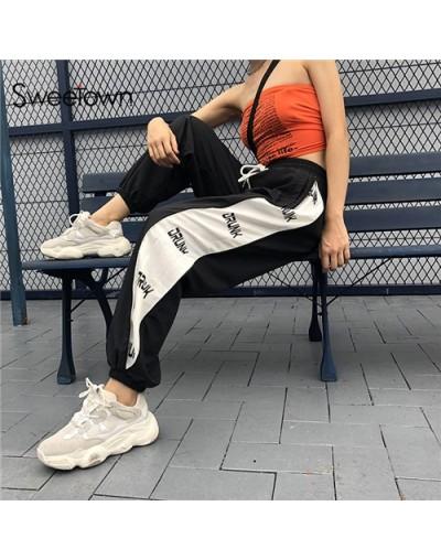 Plus Size Sweatpants Women Street Style Side Patchwork Trousers Women 2018 Streetwear High Waist Joggers Pants Autumn - blac...