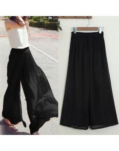 Ladies Pants Fashion Bohemia High Waist Casual Pants Wide Leg Pants Casual Loose Trousers Solid - Black - 50111114113050-1