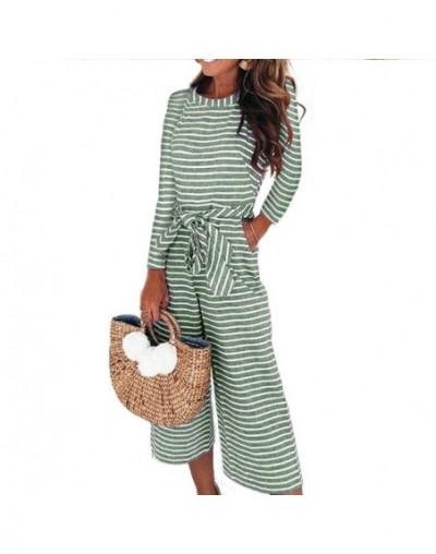 Long Sleeve Wide Leg Jumpsuits Zipper Back Raglan Sleeve Women Striped Jumpsuits Cropped Jumpsuits Overalls - Green - 4N3056...