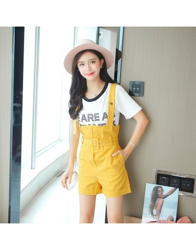 2019 Summer Fashion Casual Simple Playsuit Set Women's Letter Sequined T-shirt + Suspender Wide Leg Shorts Two Piece Set - Y...