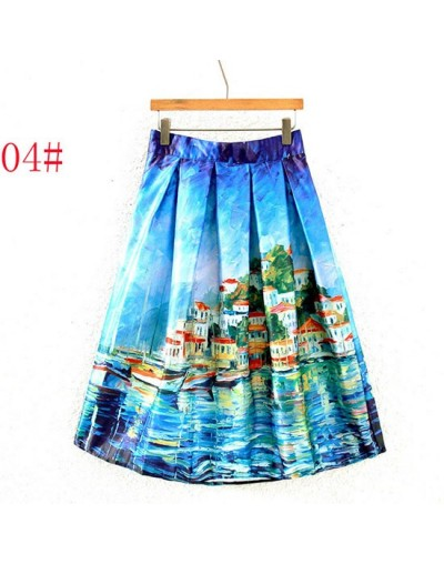 Saia Midi Skirt Summer Women Vintage Oil Painting 3D Digital Print High Waist Pleated Skirt Rockabilly Tutu Retro Puff Skirt...
