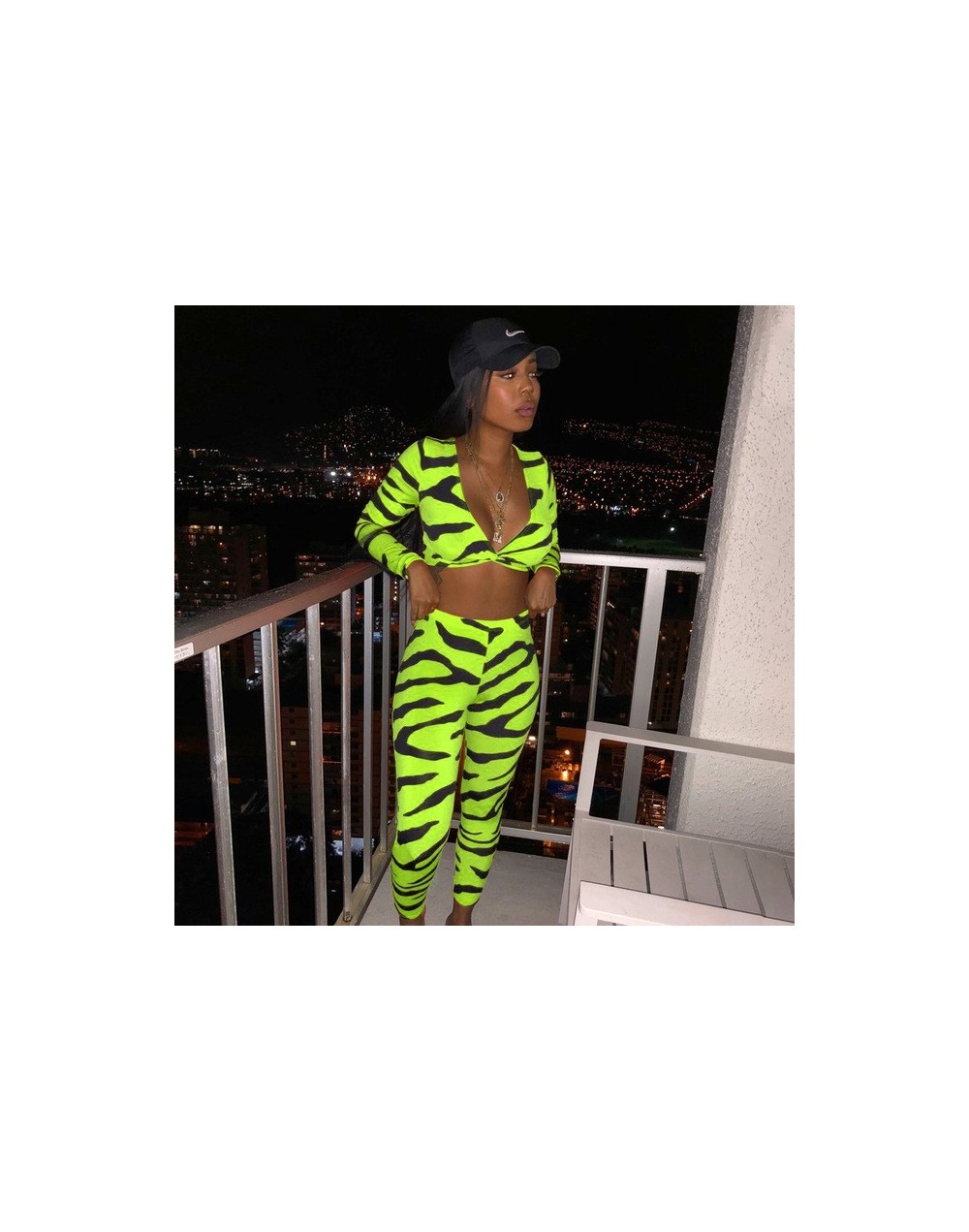 Sexy 2 Piece Set Women Matching Sets Club Outfits Zebra Print Neon Green Two Piece Set Top and Pants Fall 2019 D54AE21 - Neo...
