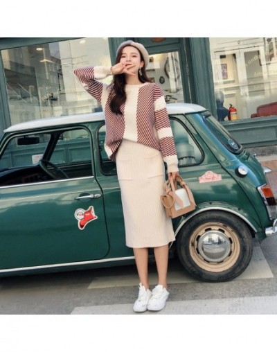 New 2018 Winter Knitted Womans Suits Thick Loose Sweater + Pencil Skirts Sets for Woman Casual Ladies Two-pieces Suit Qualit...