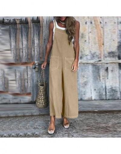 Plus Size 2019 Women's Wide Leg Jumpsuits Vintage Strap Rompers Linen Overalls Female Summer Pants Patchwork Playsuits - Bla...
