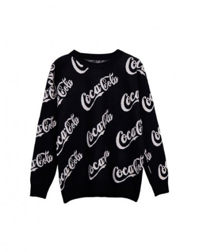 2018 New Winter Women Sweaters Fashion O-Neck Letter Batwing Sleeve Pullovers Loose Knitted Sweaters Female Jumper Tops - bl...