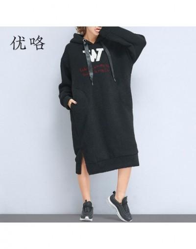 Women Sweatshirt Dress Long Sleeve Plus Size Warm Thicken Lambswool Winter Hoodie Ladies Casual Loose Pink Long Hoodies 4XL ...