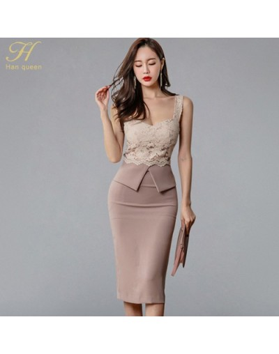 Halter Strapless Summer OL Lace Pencil Dress 2018 New Fashion Sexy V Collar Sleeveless Vintage Club Party Dresses - GRAY - 4...