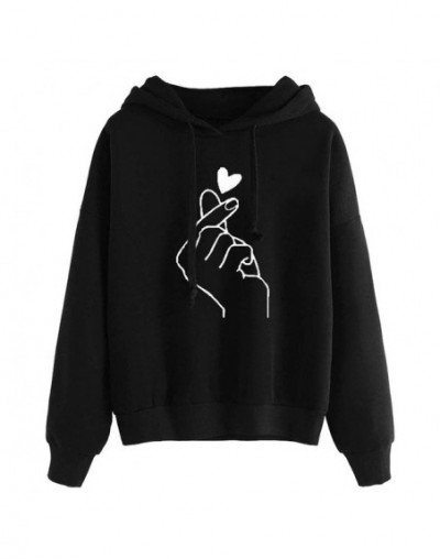 Fashion Women Hoodie Sweatshirts Heart Finger Pattern Drawstring Long Sleeve Ribbed Cuffs Casual Loose Pullover Lady Hooded ...