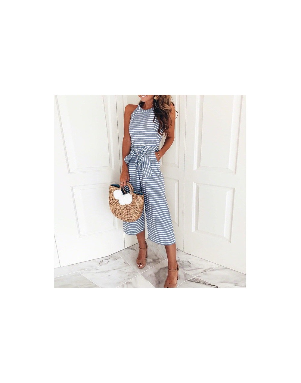 striped Jumpsuit Women casual summer 2018 overall Female sashes Jumpsuits pockets Long Wide Leg Pants DROPSHIPPING - ON0930-...