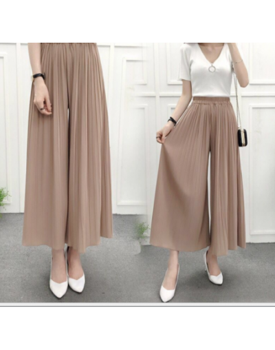 Women's Summer High Waist Was Thin Casual Loose Trousers Ladies Korean Version of The Large Size Chiffon Pleated Wide Leg Pa...