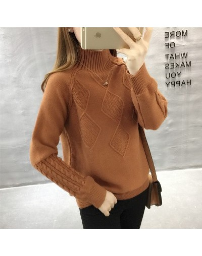 Turtleneck Jersey 2018 New Autumn Winter Women Pullovers and Sweaters Casual Loose Solid Sweet Knitted Sweater Jumper Coat -...