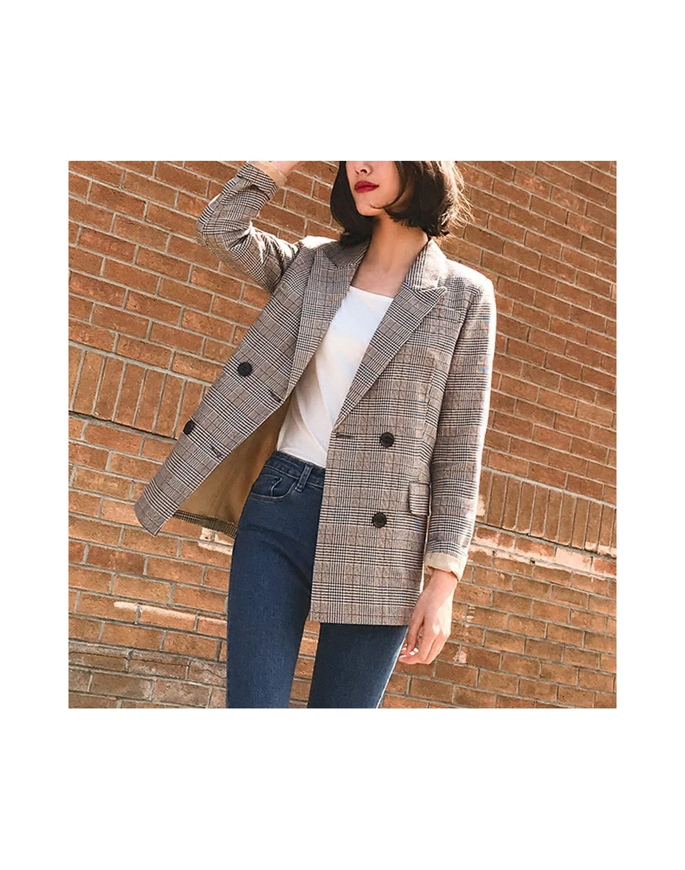 Vintage Bouble Breasted Plaid Women Blazer Spring Pockets Jackets Female Retro Suits Coat Work Feminino Outerwear high quali...