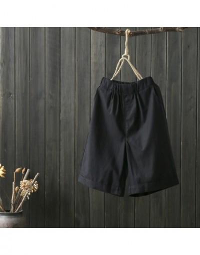 Summer Shorts Women Cotton Linen Shorts Trousers Feminino Women's Elastic Wasit Home Loose Casual Shorts With Pockets - Blac...