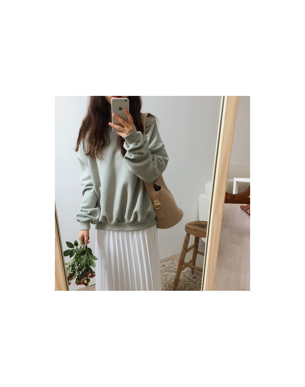 New Women Spring Autumn Sweatshirts Cotton Solid Long Sleeve O-Neck Loose Women Sweatshirt Casual Tops Outwear - Light Green...