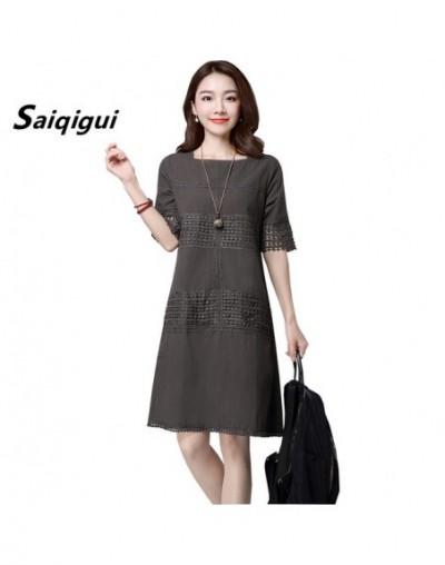 2019 Summer Dress O- Neck Solid Short Sleeve A-Line Cotton Linen Dress Hollow Out Vintage loose Women Dress - hui - 49396048...