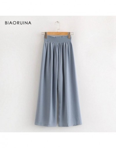 Women Fashion Solid Ankle-length Pant Female Loose Straight Pant Elastic High Waist Women's Casual Pant Trousers - Blue - 4H...