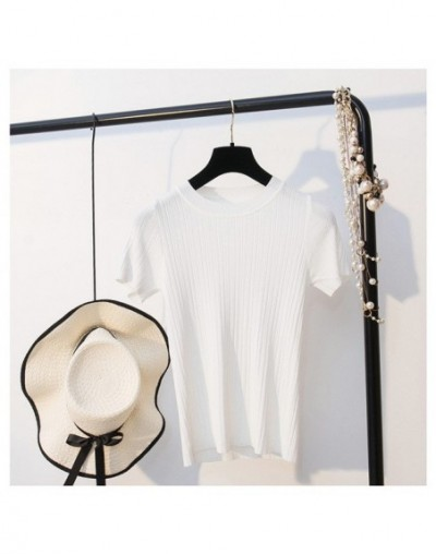 2019 New Summer Women T Shirt Fashion Knitted Short Sleeves Tees Top O-Neck Rib Female Casual T-shirt - white - 4L3069028742-5