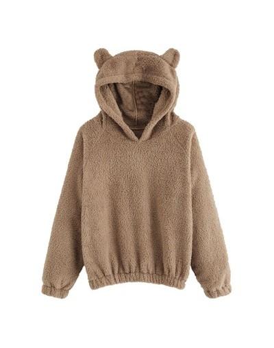 Women Hoodies Sweatshirt Kawaii Fleece Fur Coat 2018 Winter Warm Teddy Bear Ears Soft Jacket Thick coat Hooded Outwears suda...