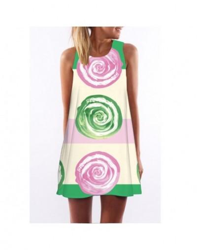 2019 summer dress women Vestidos O-Neck sleeveless print beach dress loose A-Line Dresses white floral dress - 89 - 40380902...