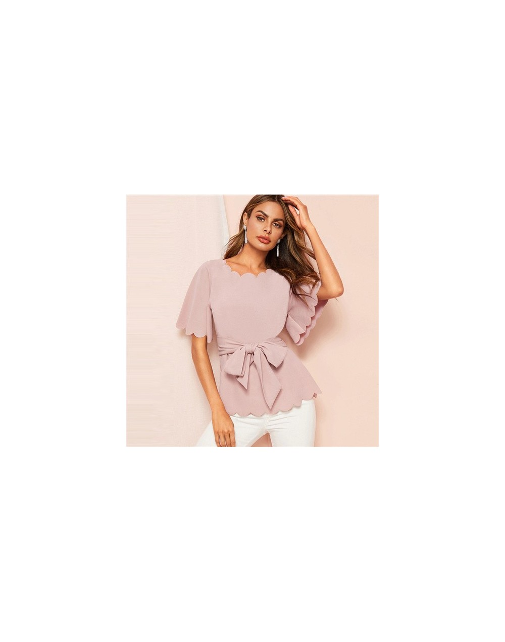 Pink Scallop Trim Belted Top Blouse Flounce Sleeve Elegant Blouses Women 2019 Summer Office Lady Solid Pullovers Top - Pink ...